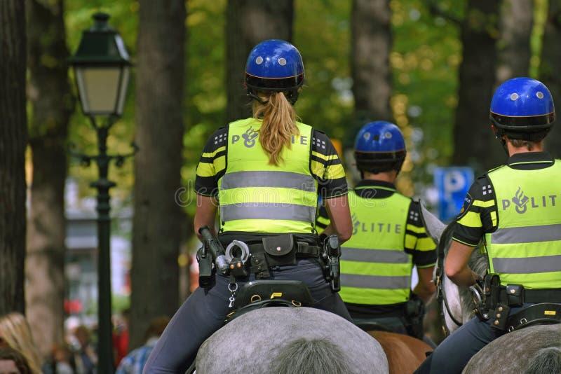 在马的警察wachting人群 库存照片