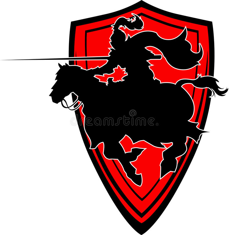 在马的马背射击的骑士剪影吉祥人 向量例证