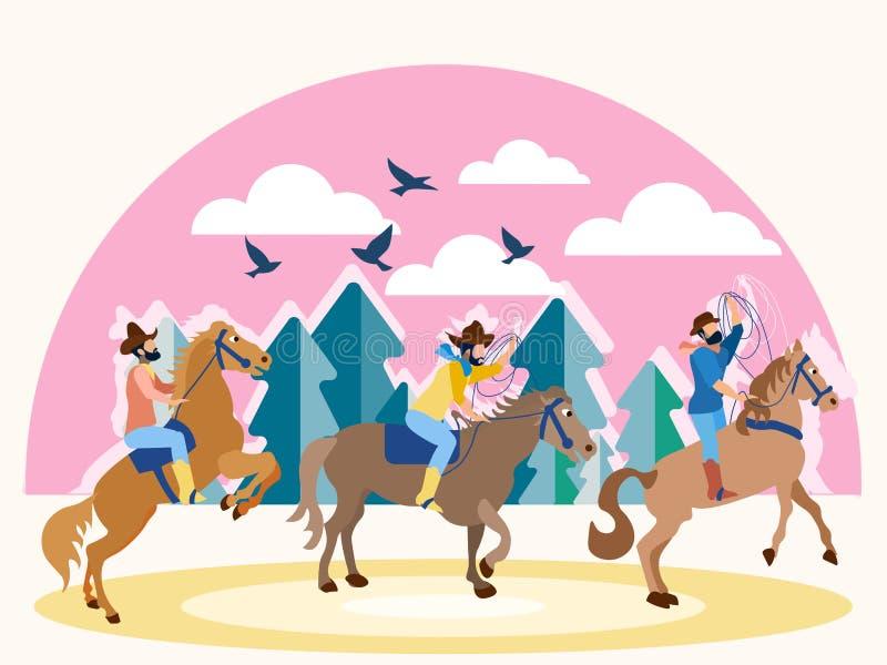 在马背上三位牛仔在得克萨斯 在最低纲领派样式 平的等量传染媒介 向量例证