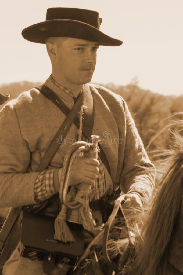 在马背上南北战争战士与军号 库存照片