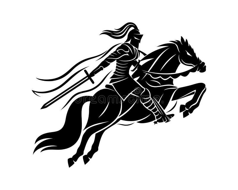 在马背上古老战士 皇族释放例证