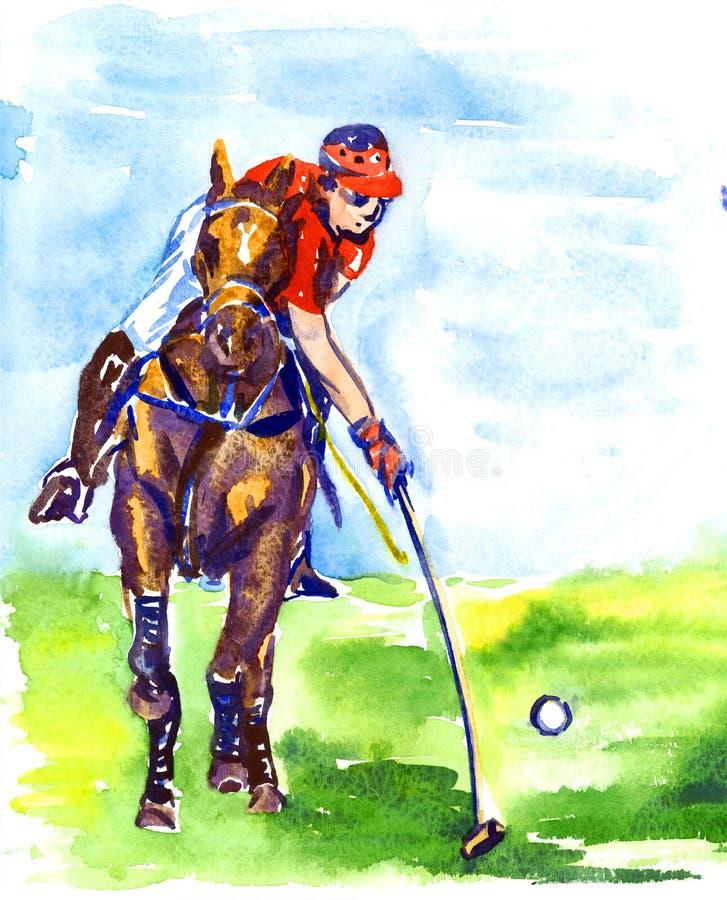 在马背上演奏马球的运动员在晴朗的夏日 向量例证