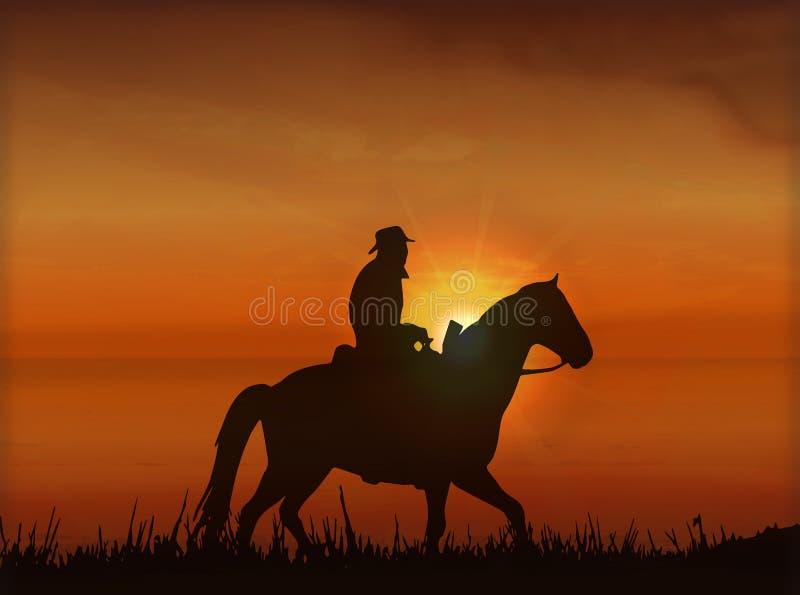 在马背上Covboj在日落-传染媒介 图库摄影