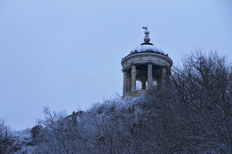 在马舒克山的Aeolus竖琴在冬天 五山城Landmar 库存照片