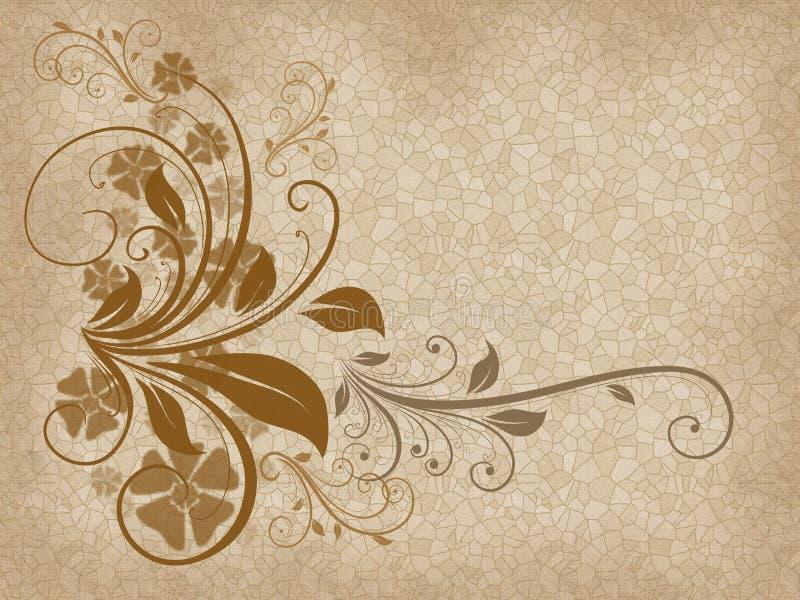 在马赛克背景的美好的棕色花卉元素 库存例证