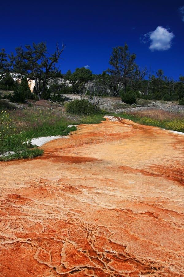 在马默斯斯普林斯的橙色小瀑布喷泉 免版税库存图片