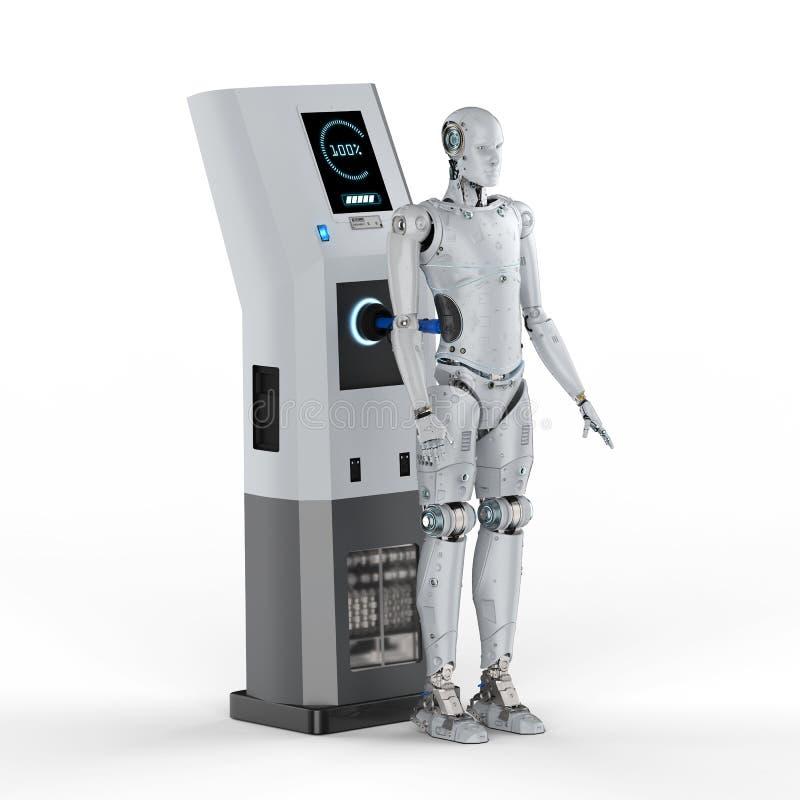 在驻地的机器人充电 向量例证
