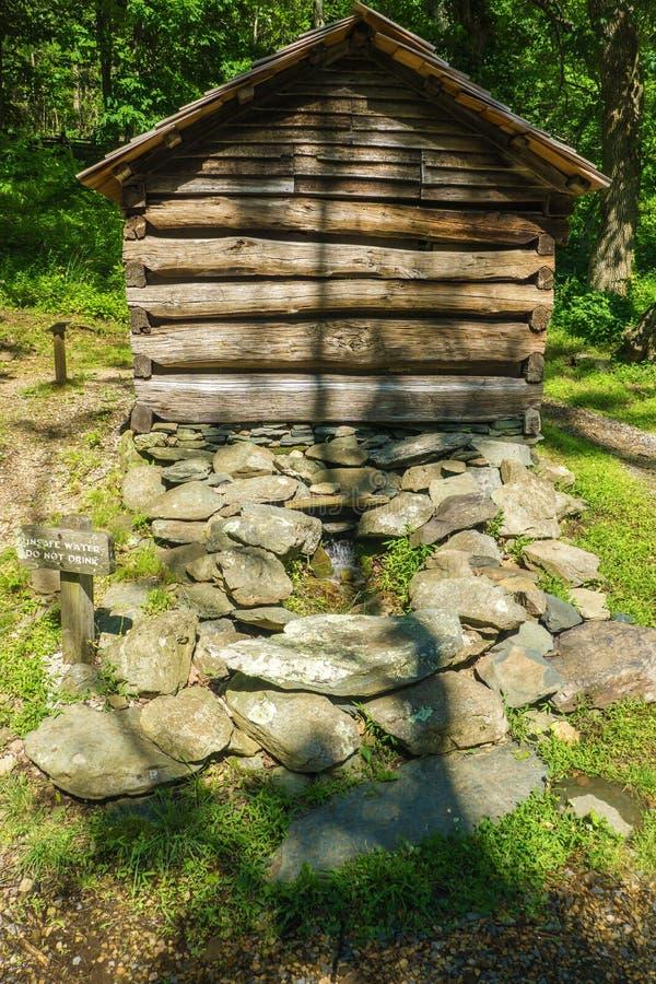 在驼背岩石的Springhouse种田博物馆 图库摄影