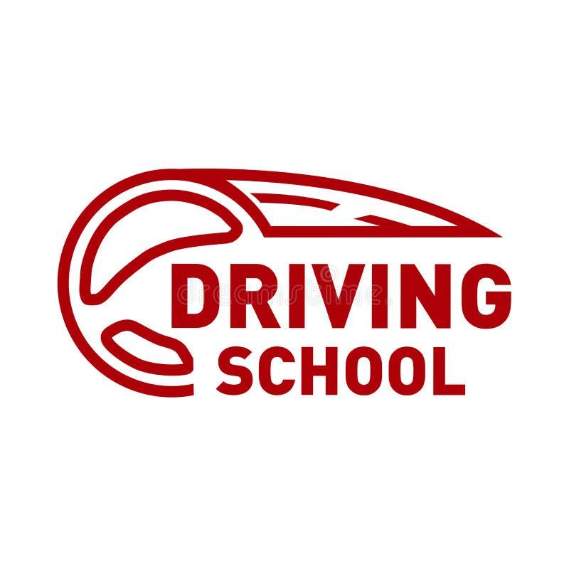 在驾校,汽车题材的传染媒介商标  向量例证