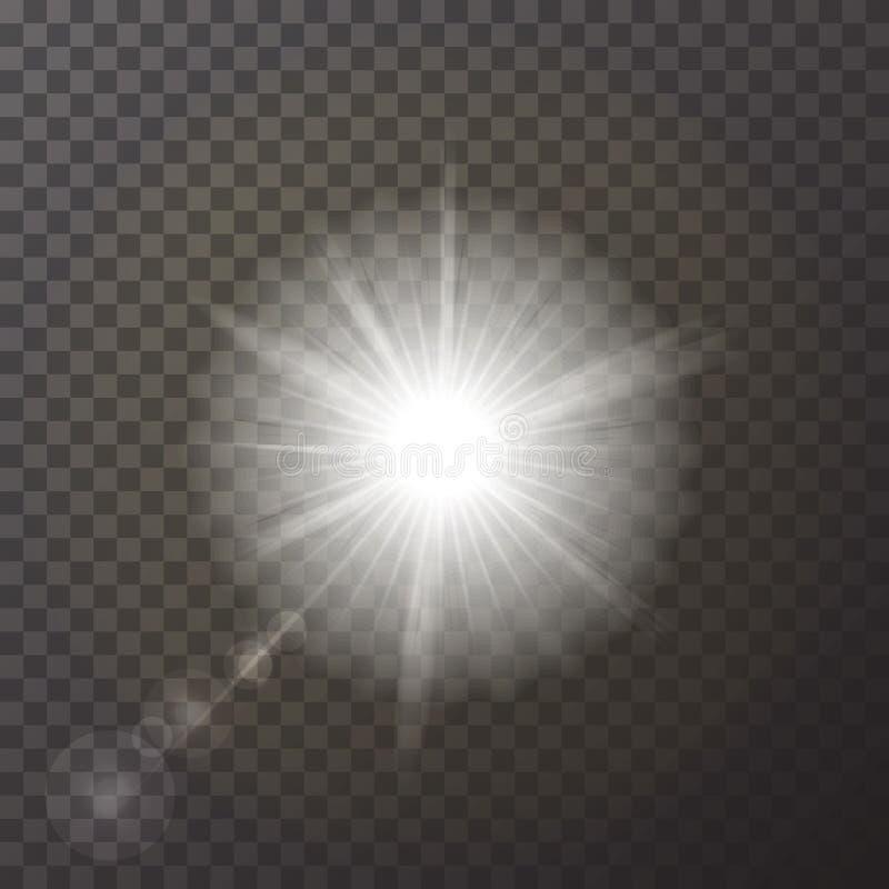 在验查员背景隔绝的透明白色发光的轻的爆炸爆炸 现实作用de 向量例证