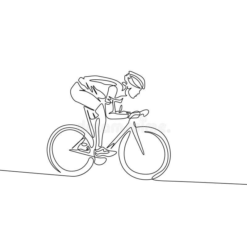 在骑在倾斜下的盔甲的连续的一条线骑自行车者一辆自行车 向量例证