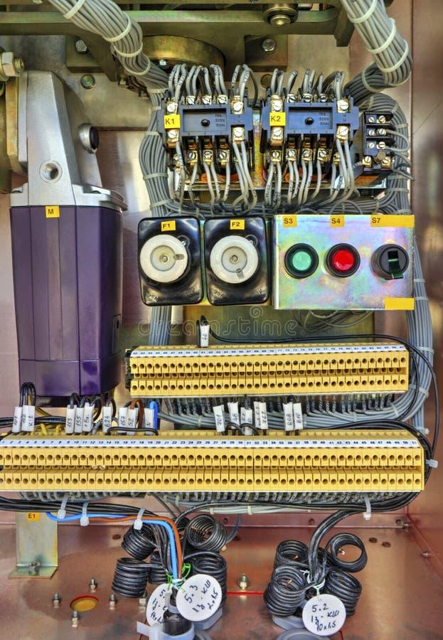 在高压断开器电子控制台室里面看法  库存图片