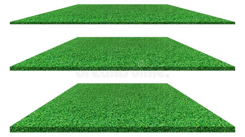 在高尔夫球场的白色背景隔绝的草地,足球场或者体育构思设计 人为绿草 向量例证