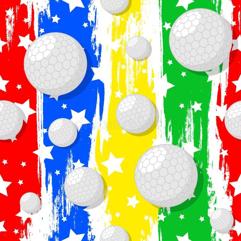 在高尔夫球题材的无缝的样式 免版税库存照片