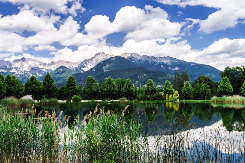 在高山奥地利山的绿河 免版税图库摄影