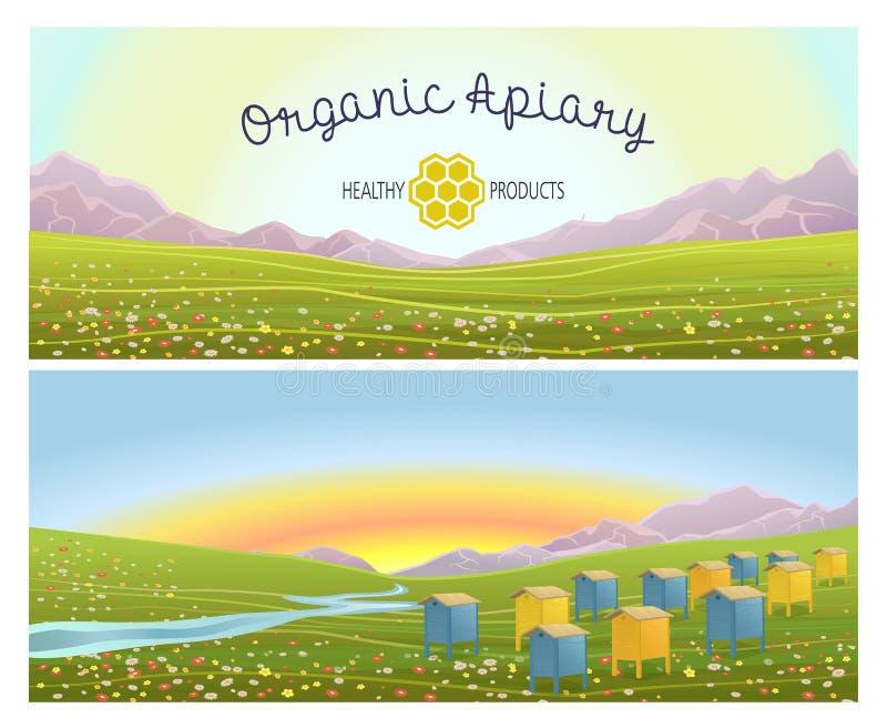 在高山草甸山的蜂房 蜂蜜农场 向量例证