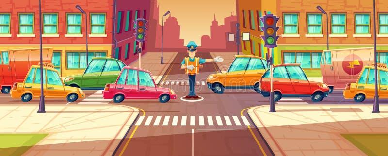 在高峰时间,交通堵塞,移动的运输,由交通指挥员的车导航调整城市交叉路的例证 向量例证