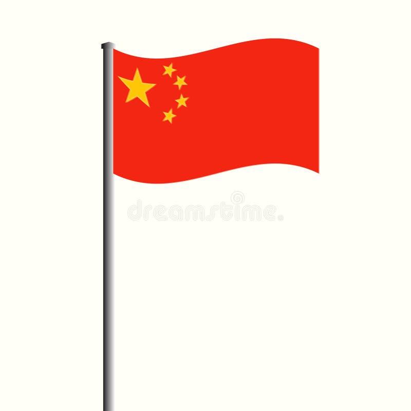 在高帆柱传染媒介例证的挥动的中国旗子 库存例证
