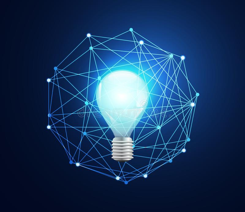 在高科技b的抽象技术概念电灯泡数字式链接 皇族释放例证
