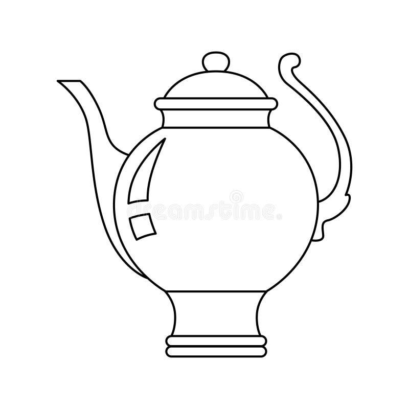 在高词根的圆的茶壶在被隔绝的背景,乱画样式 库存例证