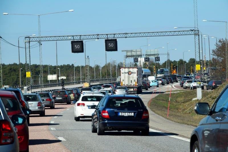 在高速公路的堵车 库存图片