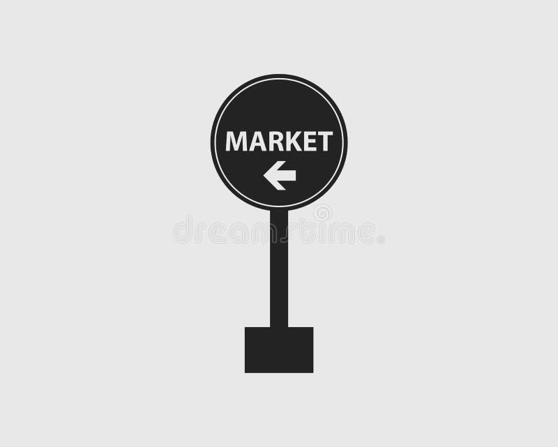 在高速公路的正确的被环绕的标志的市场有灰色背景 向量例证