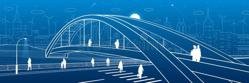 在高速公路的步行桥 走在城市街道上的人们 现代夜镇 基础设施例证,都市场面 Wh 库存例证