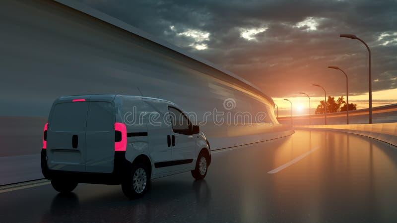 在高速公路的白色送货车 运输和后勤指导方针 3d?? 免版税图库摄影