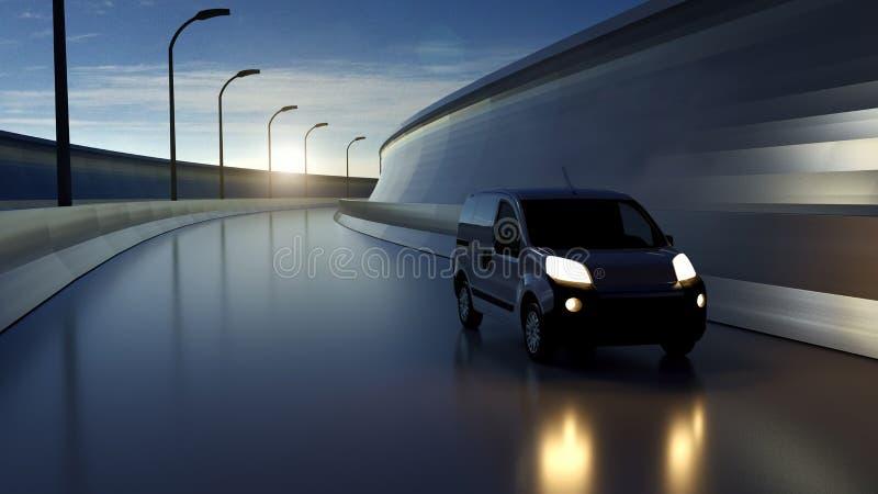 在高速公路的白色送货车 运输和后勤指导方针 3d?? 免版税库存图片