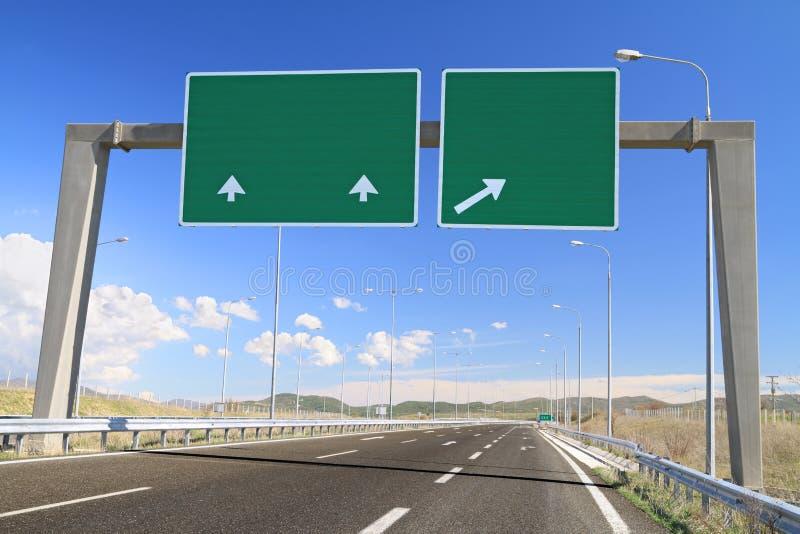 在高速公路的空白的路标 免版税库存图片