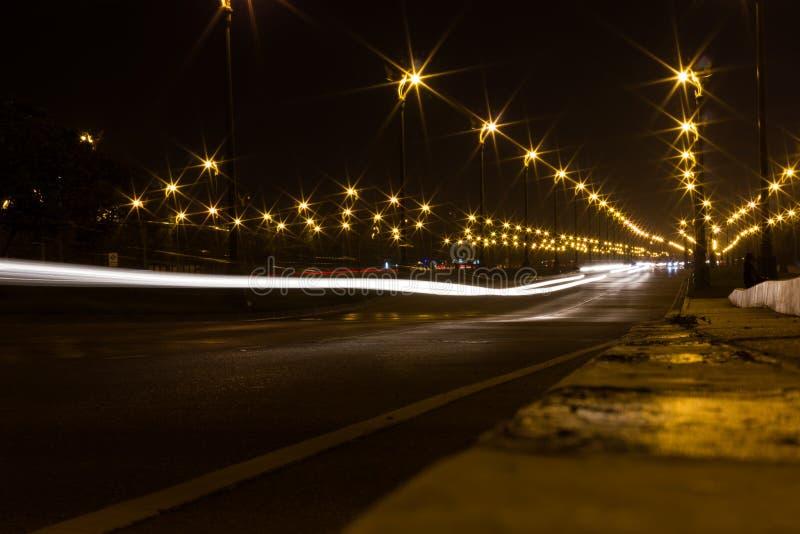 在高速公路的美好的光 库存照片