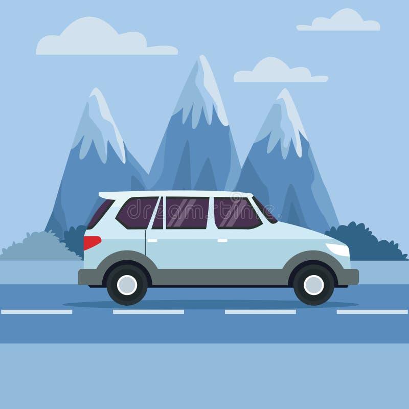 在高速公路的车 向量例证
