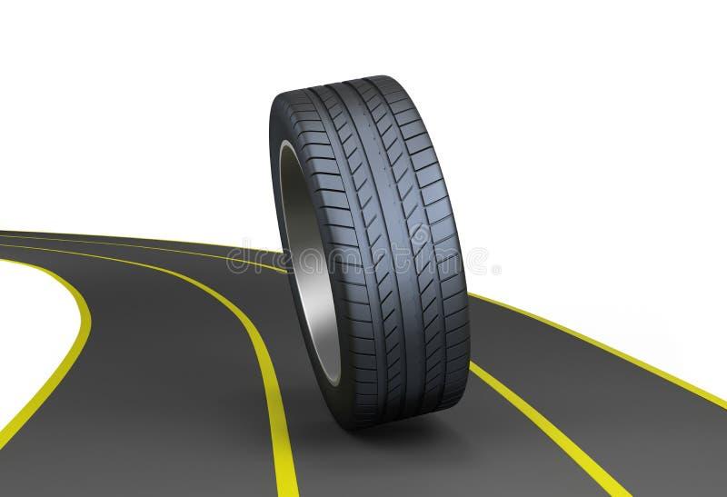 在高速公路的轮胎 库存例证