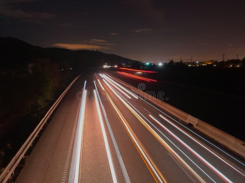 在高速公路ap7的长的曝光 库存图片