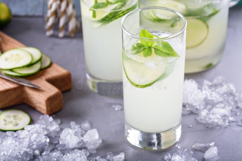 在高玻璃的黄瓜柠檬水 免版税图库摄影