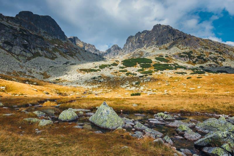 在高Tatra山的五个湖谷,波兰 库存照片