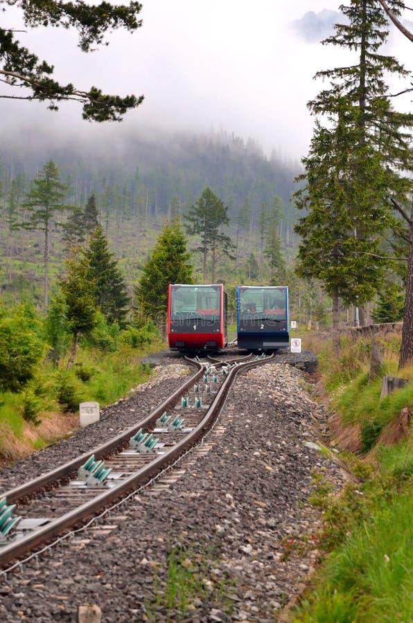 在高Tatras山的缆车在斯洛伐克 库存照片