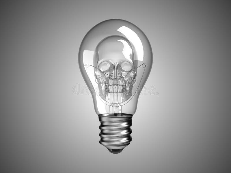 在鬼电灯泡的头骨里面的死亡疾病 向量例证