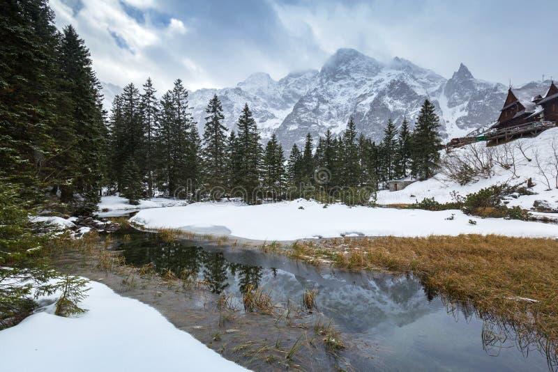 在鱼小河的美好的Tatra山景 免版税图库摄影