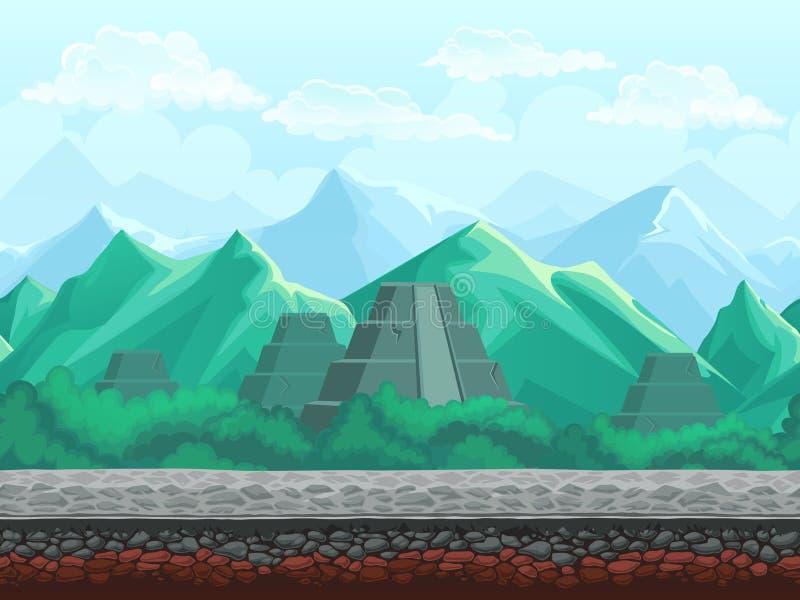 在鲜绿色山的金字塔 库存例证