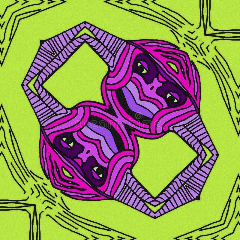在鸟的抽象启发 紫罗兰色和绿色 向量例证