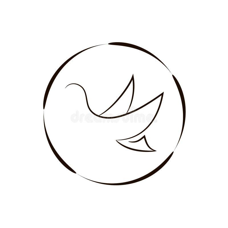 在鸟黑暗的飞行海洋之上开张海鸥翼 鸟商标 库存例证