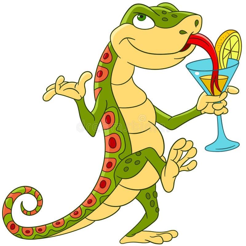 在鸡尾酒会的逗人喜爱的动画片蜥蜴 库存例证