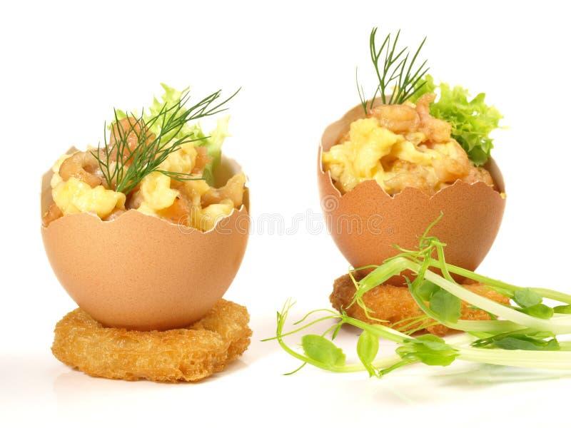 在鸡蛋的大西洋虾 库存图片