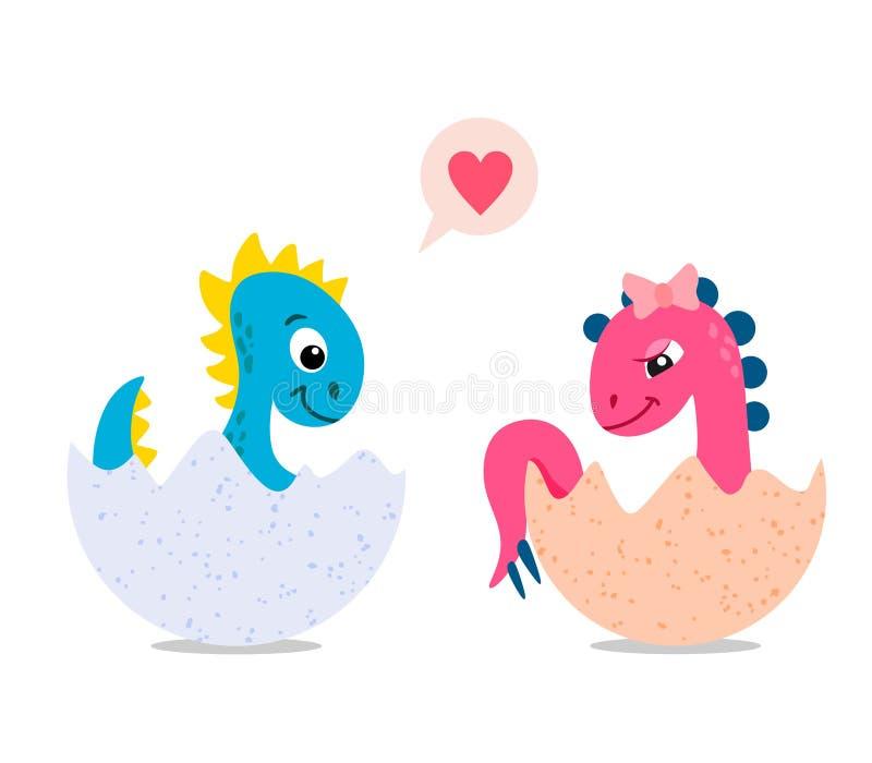 在鸡蛋的逗人喜爱的动画片恐龙,孩子恐龙 背景例证鲨鱼向量白色 库存例证