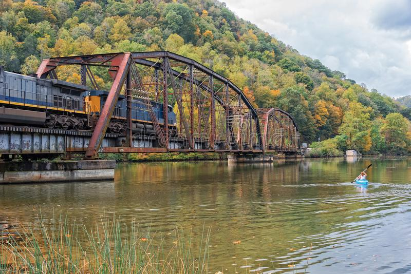 在鹰巢国家公园的铁路支架在西维吉尼亚 免版税图库摄影