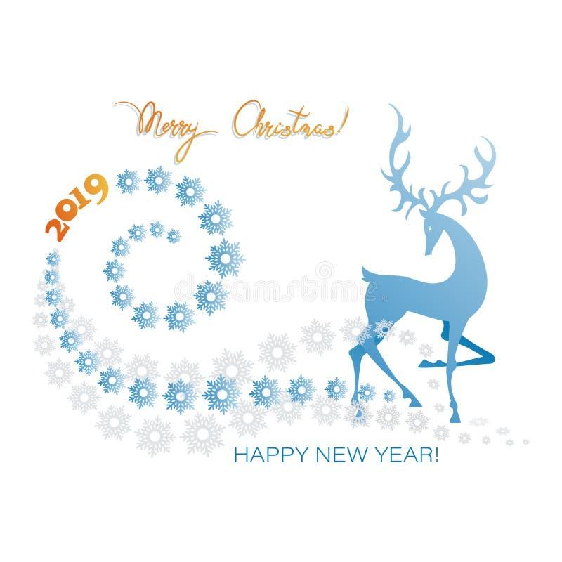 在鹿夜间房子例证新的s之后小的结构树冬天年 圣诞快乐!新年快乐2019年! 向量例证