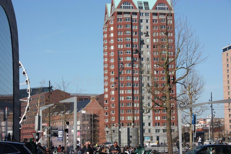 在鹿特丹大都会的忙碌和现代驻地的每日城市混乱  黄色立方体房子是装饰  免版税库存图片