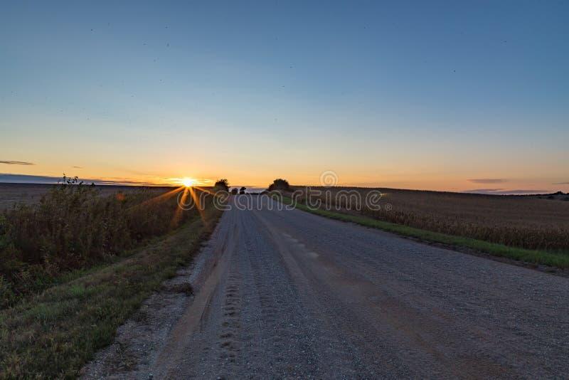 在麦地的日落秋天/秋天 库存照片