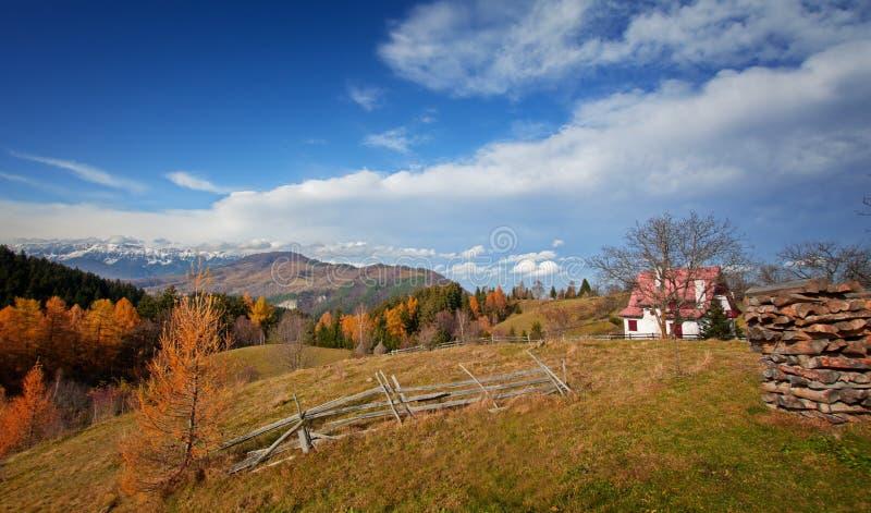 在麸皮的Autum风景,在Piatra Craiului山布拉索夫前面,罗马尼亚 库存照片